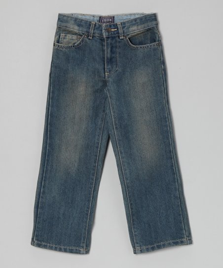 Blue Faded Straight-Leg Jeans - Boys