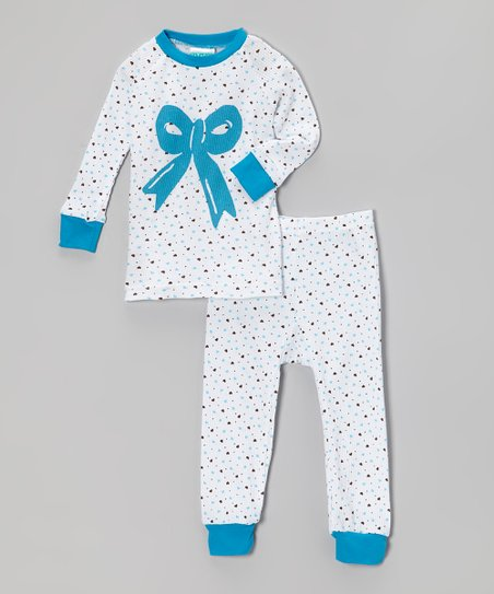 White & Blue Heart Bow Pajama Set - Infant, Toddler & Girls