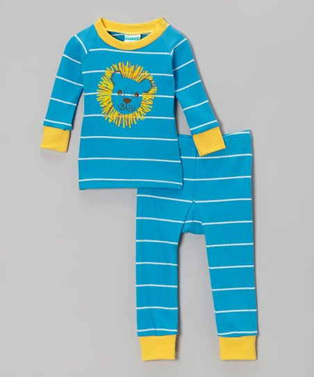 Turquoise & Yellow Stripe Lion Pajama Set - Infant & Toddler