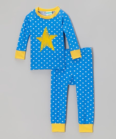 Blue & Yellow Polka Dot Star Pajama Set - Infant & Toddler