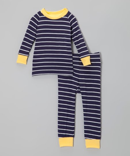 Navy & Yellow Stripe Pajama Set - Infant & Toddler