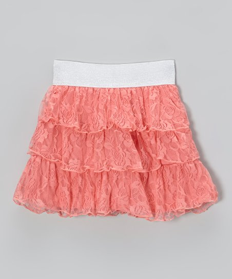 Salmon Rose Lace Skirt