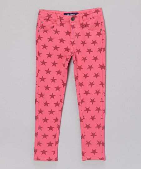 Sachet Pink Spangle Banner Skinny Pants - Toddler & Girls