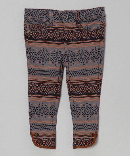 Dark Ash Aztec Leggings - Toddler & Girls