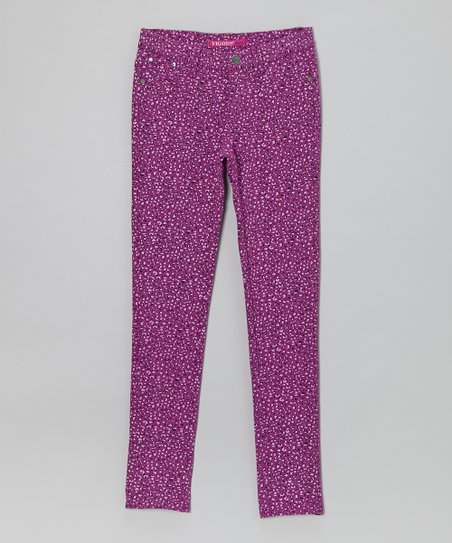 Majestic Purple Leopard Skinny Pant - Girls