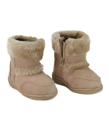 Tan Faux Fur Zipper Boot