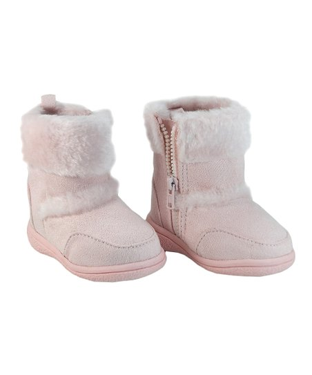 Pink Faux Fur Zipper Boot