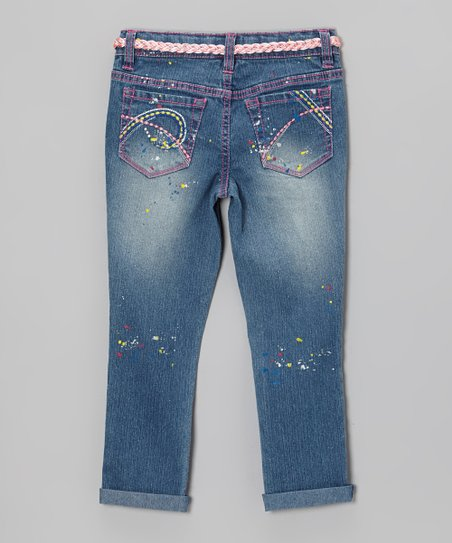 Medium Stone Wash Paint Splatter Cuffed Skinny Jeans