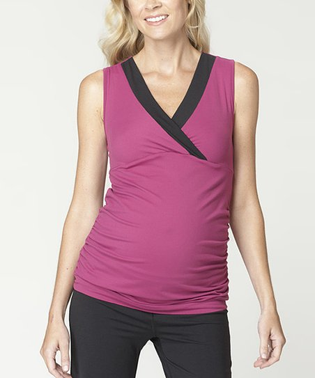 Berry & Black Balance Maternity Tank - Women