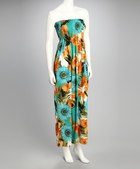 Green Floral Shirred Maxi Dress