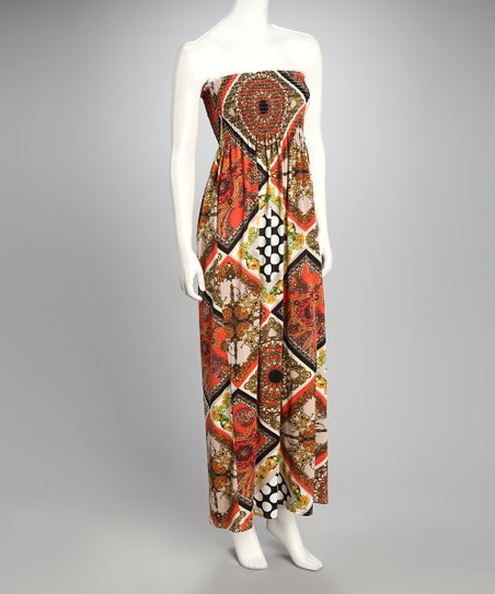 Red Patchwork Shirred Maxi Dress