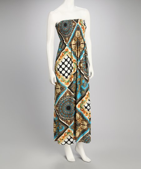 Turquoise Patchwork Shirred Maxi Dress