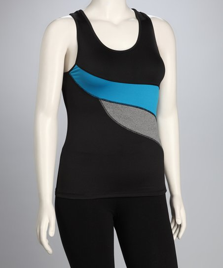 Blue & Black Plus-Size Racerback Tank