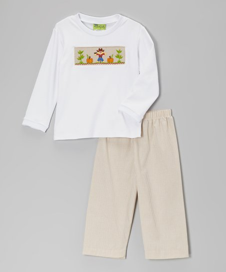 White Smocked Scarecrow Tee & Beige Pants - Infant & Toddler