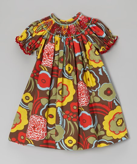 Red Bold Blooms Smocked Bishop Dress - Infant, Toddler & Girls
