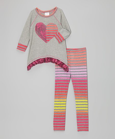 Gray & Orange Stripe Heart Tunic & Leggings - Toddler & Girls