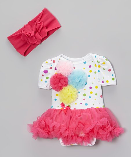 White & Pink Polka Dot Tutu Bodysuit & Headband - Infant