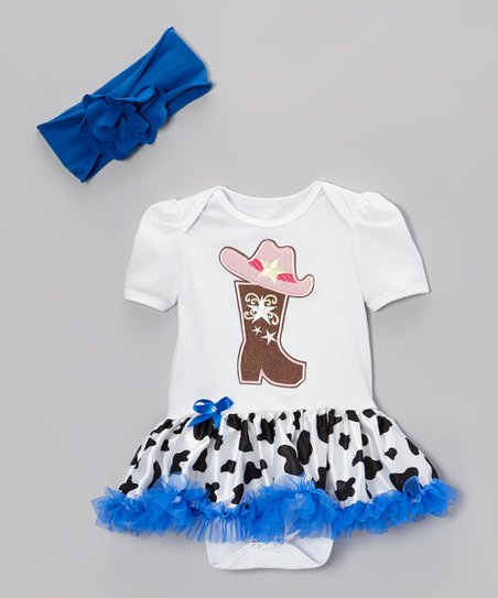 White & Blue Cowgirl Skirted Bodysuit & Headband
