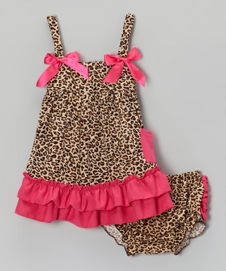 Brown & Hot Pink Leopard Ruffle Swing Top & Diaper Cover