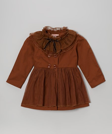 Coffee Tulle Ruffle Jacket - Toddler & Girls