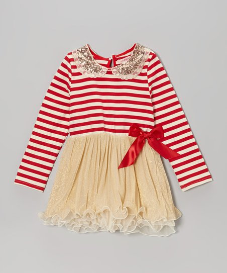 Red Stripe Sequin Collar Tutu Dress - Toddler & Girls