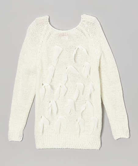 Ivory Bow Sweater - Toddler & Girls