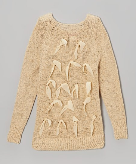 Beige Bow Sweater - Toddler & Girls