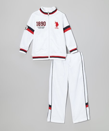 White '1890' Track Jacket & Pants - Infant & Toddler