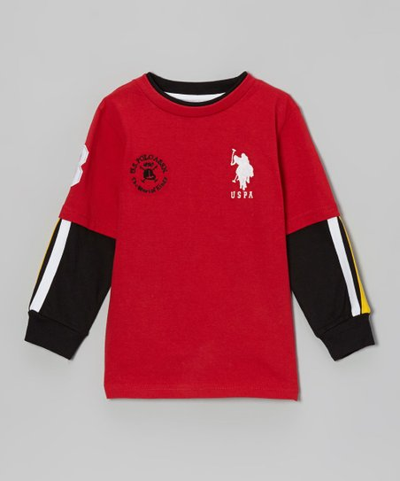 Red & Black Layered Tee - Toddler & Boys
