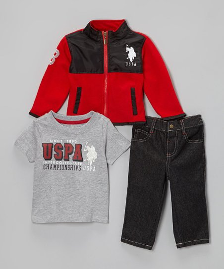 Red & Black Fleece Zip-Up Jacket Set - Boys