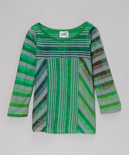 Lime Mixed Stripe Mitered Tee - Girls