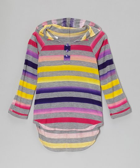 Heather Gray & Purple Stripe Hooded Tee - Girls
