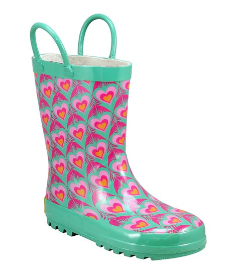 Turquoise Peacock Love Rain Boot
