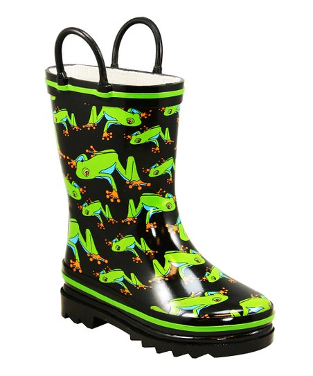 Black Frog Leaps Rain Boot