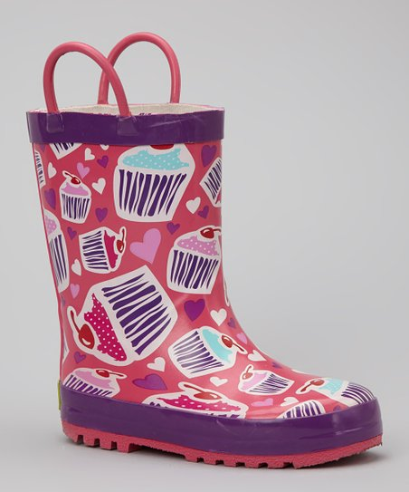 Purple Cupcake Rain Boot