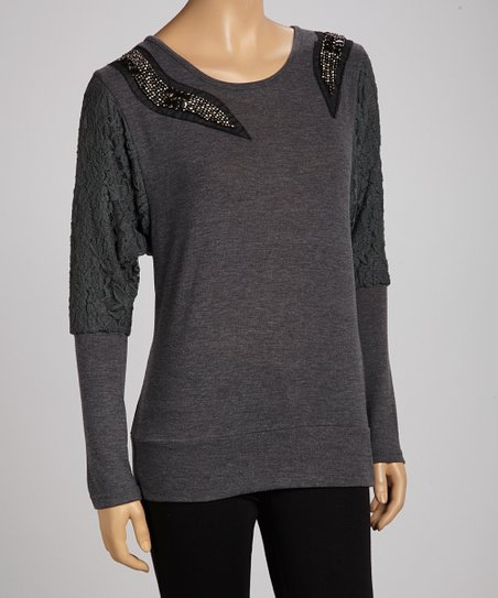 Charcoal Lace Embellished Top