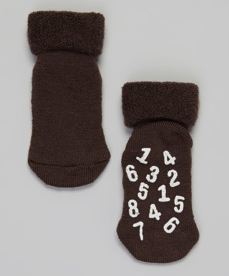 Brown & White Number Wool-Blend Socks