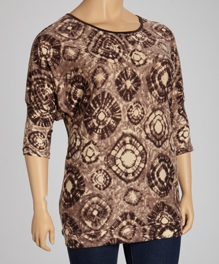 Brown & Tan Circle Tie-Dye Half-Sleeve Top - Plus