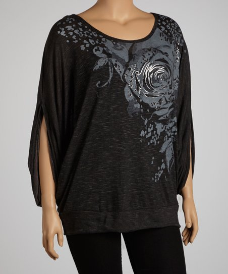 Mocha Rose Graphic Three-Quarter Sleeve Top - Plus