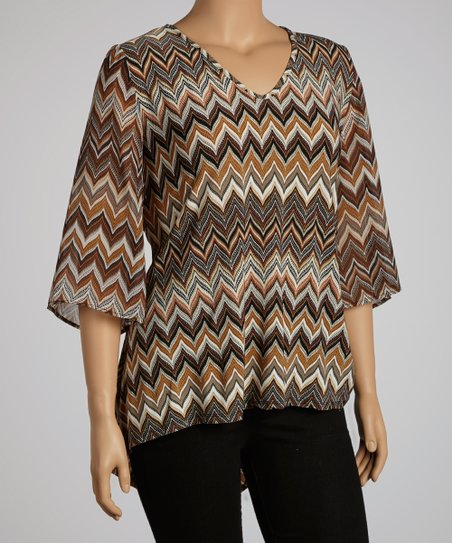Brown Zigzag Bell-Sleeve Top - Plus