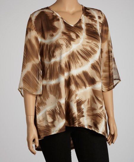 Beige & Brown Tie-Dye Cape-Sleeve Top - Plus