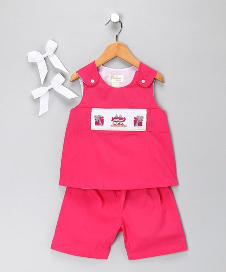 Hot Pink Cake Shorts Set - Toddler