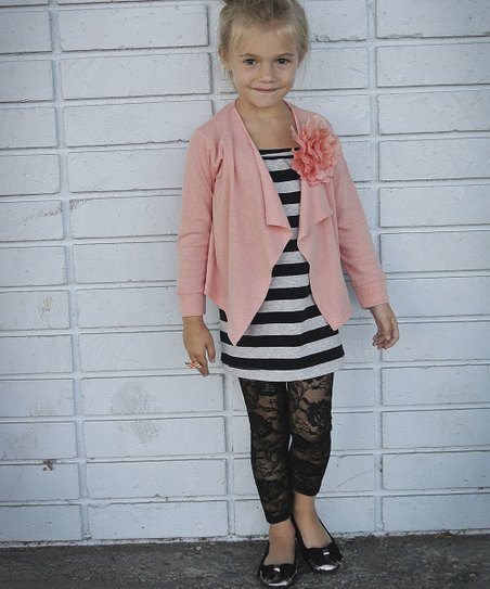 Pink Blossom Open Cardigan - Toddler & Girls