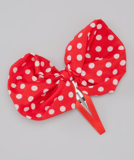 Red & White Polka Dot Bow Clip