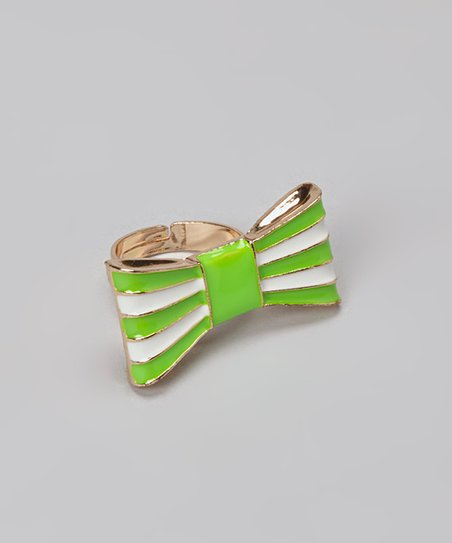 Green Stripe Bow Ring