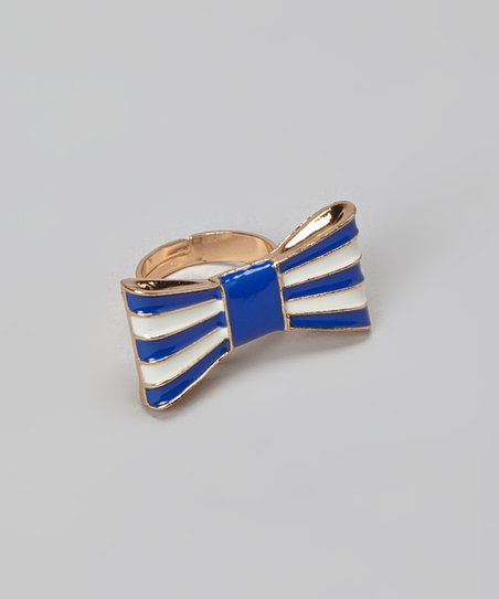 Blue Stripe Bow Ring