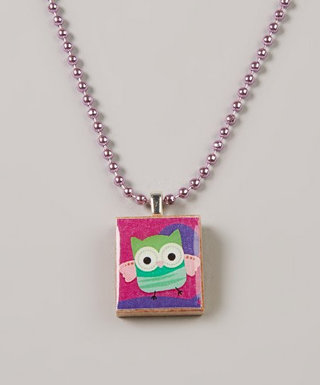 Pink Owl Scrabble Tile Necklace