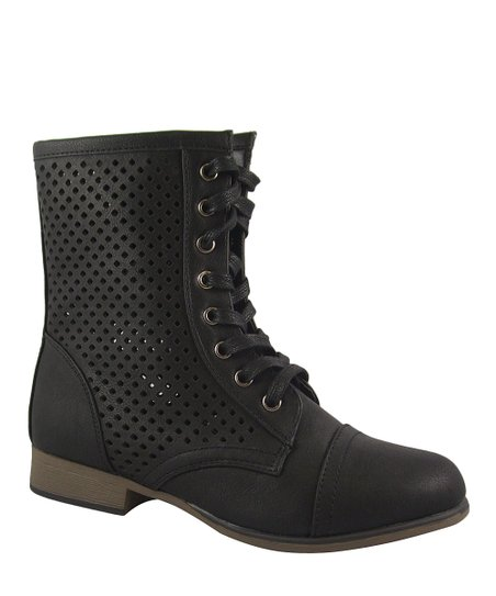 Black Perforated Chapter Ankle Boot