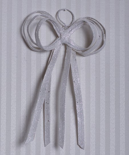 White Fabric Glitter Bow - Set of Six