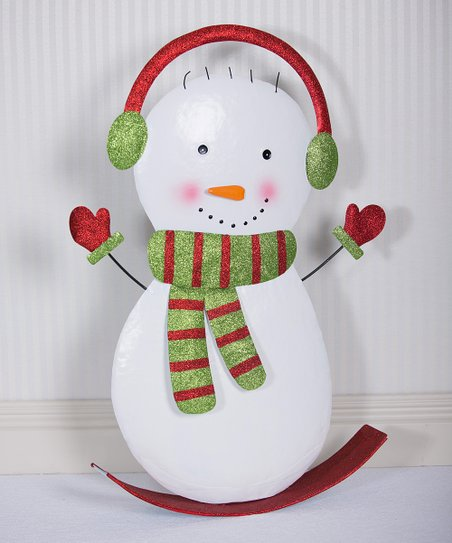 Metal Rocking Snowman Figurine